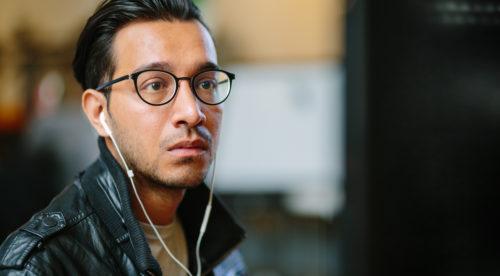 Man glasses close up left