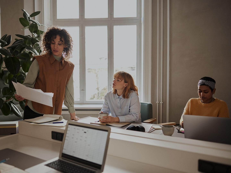 Three women in an office